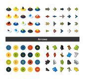 Set of icons in different style - isometric flat and otline, colored and black versions. Vector symbols - Arrows collection Royalty Free Stock Photos