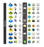 Set of icons in different style - isometric flat and otline, colored and black versions Stock Photo