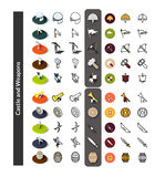 Set of icons in different style - isometric flat and otline, colored and black versions Stock Photography