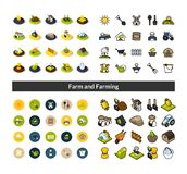 Set of icons in different style - isometric flat and otline, colored and black versions. Vector symbols - Farm and farming collection Stock Photography