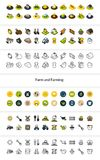 Set of icons in different style - isometric flat and otline, colored and black versions. Vector symbols - Farm and farming collection Royalty Free Stock Photos