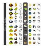 Set of icons in different style - isometric flat and otline, colored and black versions. Vector symbols - Farm and farming collection Stock Image