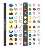 Set of icons in different style - isometric flat and otline, colored and black versions. Vector symbols - Food and drink collection Royalty Free Stock Image