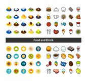 Set of icons in different style - isometric flat and otline, colored and black versions. Vector symbols - Food and drink collection Stock Photo