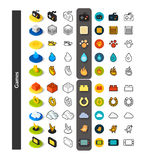 Set of icons in different style - isometric flat and otline, colored and black versions. Vector symbols - Games collection Stock Image
