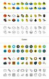 Set of icons in different style - isometric flat and otline, colored and black versions. Vector symbols - Games collection Stock Photos