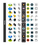 Set of icons in different style - isometric flat and otline, colored and black versions. Vector symbols - Media collection Stock Image
