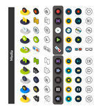 Set of icons in different style - isometric flat and otline, colored and black versions. Vector symbols - Media collection Royalty Free Stock Photos