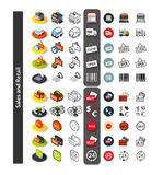 Set of icons in different style - isometric flat and otline, colored and black versions Royalty Free Stock Images