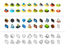 Set of icons in different style - isometric flat and otline, colored and black versions. Vector symbols - Shopping and finance collection Royalty Free Stock Photo