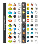 Set of icons in different style - isometric flat and otline, colored and black versions. Vector symbols - Shopping and finance collection Stock Photo