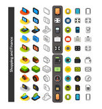Set of icons in different style - isometric flat and otline, colored and black versions. Vector symbols - Shopping and finance collection Stock Photos