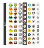 Set of icons in different style - isometric flat and otline, colored and black versions Royalty Free Stock Photo