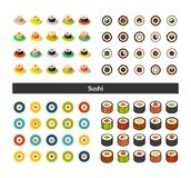 Set of icons in different style - isometric flat and otline, colored and black versions. Vector symbols - Sushi collection Stock Photo