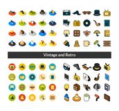 Set of icons in different style - isometric flat and otline, colored and black versions. Vector symbols - Vintage and retro collection Stock Photo