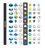 Set of icons in different style - isometric flat and otline, colored and black versions Stock Photos