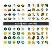 Set of icons in different style - isometric flat and otline, colored and black versions. Vector symbols - Winning, Prizes and awards collection Royalty Free Stock Photo
