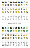 Set of icons in different style - isometric flat and otline, colored and black versions. Vector symbols - Winning, Prizes and awards collection Stock Images