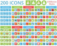 Set of 200 icons. 4 Different Styles. Royalty Free Stock Photography