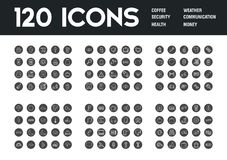 Set of 120 icons with different themes. Vector illustration Royalty Free Illustration