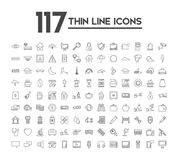 Set of 120 icons with different themes. Vector illustration Royalty Free Stock Photos