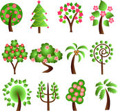 Set of icons of different trees,vector Royalty Free Stock Images
