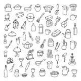 Set of 60 icons of different types of cookware Stock Photo