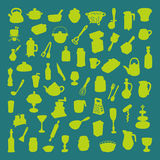 Set of 60 icons of different types of cookware. Beautiful vector design Stock Images