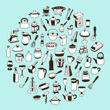 Set of icons of different types of cookware. Royalty Free Stock Photo