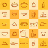 Set of icons of different types of cookware Stock Photo