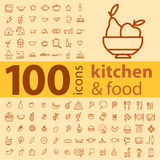 Set of 100 icons of different types of cookware, food, fruits an Stock Images