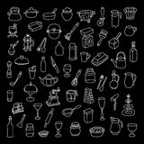 Set of 60 icons of different types of cookware. Hand drawn . Stock Image