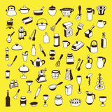 Set of 60 icons of different types of cookware Stock Photos