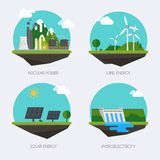 Set of icons with different types of electricity generation.  Royalty Free Stock Images