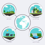 Set of icons with different types of electricity generation.   Royalty Free Stock Photo