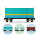 Set of icons of different types of freight cars, Royalty Free Stock Photography