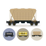 Set of icons of different types of freight cars Stock Photos