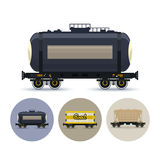 Set of icons of different types of freight cars, Stock Photos