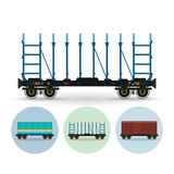 Set of icons of different types of freight cars Stock Images