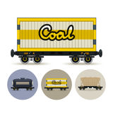 Set of icons of different types of freight cars Stock Photography