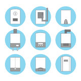 Set of icons of different white gas boilers on blue background Stock Photos