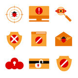 Set of icons displaying IT security. Stock Images