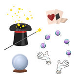 Set of icons for divination and magic tricks. Royalty Free Stock Photography