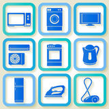Set of 9 icons of domestic appliances Stock Photo