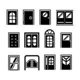Set icons of doors. Isolated on white Royalty Free Stock Photo