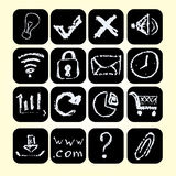 Set icons drawn chalks style, vector illustration. Stock Images