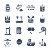 Set of icons drinks and beverages production. Process Stock Photos