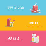 Set of icons on drinks theme Royalty Free Stock Images