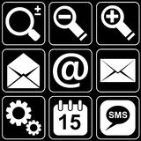 Set of icons (e-mail, office, work). Set white icons on a black background Vector Illustration