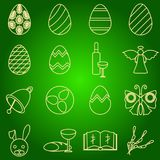 Set of icons Easter symbols egg, angel, bell, wine, butterfly, bible, rabbit, willow. royalty free illustration